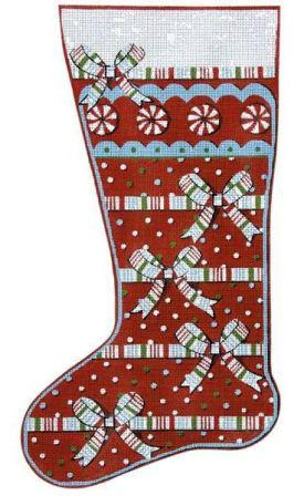 6323 Christmas Ribbons Stocking