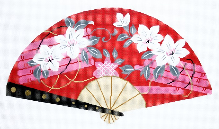 7335 White Blossoms on Red Fan
